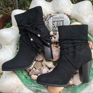 Black Tassel Ankle Booties